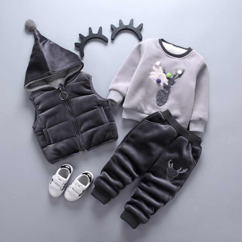 Baby Boys Girls Warm Set Winter Christmas Kids Thickening Hooded Vest+Sweater+Pant Three-piece Sport Suits Children Clothing<br>