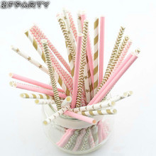 ZFPARTY 25pcs pink gold striped mixed Paper Drinking Straws for Wedding party kids Birthday party Decoration Event supplies