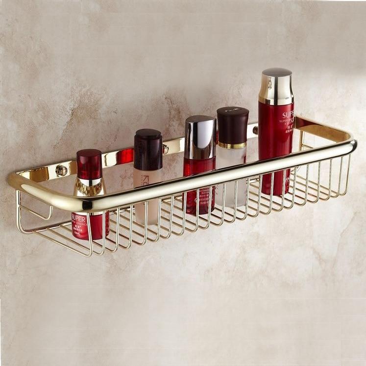 Gold Brass Wall Mounted Bath Soap Shampoo Shower Storage Rectangle Basket Shelf 9903K<br>