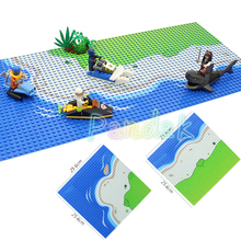 25.6cm Sandy Beach Base Plate Seaside Pirates and Navy theme Accessories Building Blocks Model Bricks Kits Toys for children