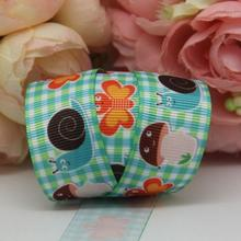 "Dobro 7/8"" 22MM Plaid Mushroom Butterfly Printed Grosgrain Ribbon DIY Material Hairbows Accessories Handmade Apparel 100Y"
