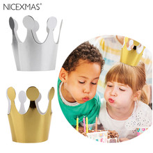 10pcs Kids Princess Birthday Party Decoration Children Handcrafted Princess Crowns Party Favors Glitter Cardstock Birthday Hat(China)