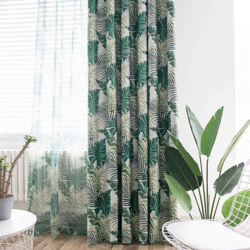 Modern Pattern Tropical Printed Curtains Green Leaves for Living Room Rainforest Tulle Window Drape Blackout Rate 85%