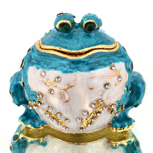 Buy 2.1*1.8IN Blue Metal Toad Trinket Box Miniature Figutines Women Earring Ring Storage Jewelry Case Birthday Gift DIY Crafts for $11.96 in AliExpress store