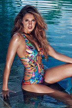 2017 Tropical Wild Totem Print Bandage One Piece Swimsuit Women Colorful Strappy Swimwear Monokini Swimming Suit maillot de bain