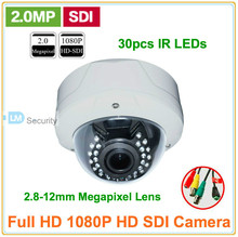 4pcs DHL/EMS/FedEx/UPS Express Free Shipping 2.8-12mm Auto Iris Varifocal Lens 1080P 2.0 Megapixel HD SDI IR Dome HD-SDI Camera