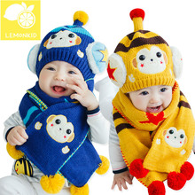 Korean style baby hat cute cartoon monkey woolen crochet hat kids winter hats warm baby scarf baby boy girl scarf hat set
