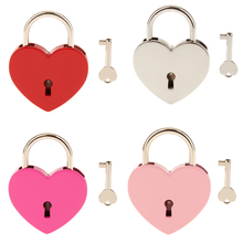 New Hot Vintage Heart Shape Padlock w/ Key Tiny Suitcase Crafts Lock Set Lovers Heart Locks Gifts Presents L Creative Birthday