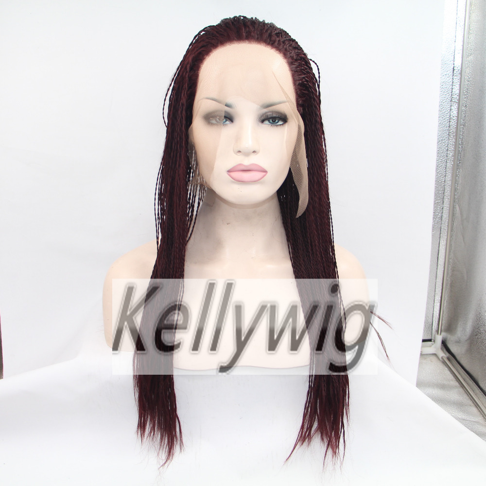 Free Ship Stock Glueless Lace Front Wig Length 16-28 Heat Resistant Hair Full Wig Burg Color Braid Lace Wig  Syntheitc Hair<br><br>Aliexpress