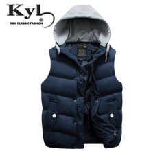 2016 Men's Cotton Wool Collar Hooded Down Vest New Spring Waistcoat Brand Male Winter Warm Jacket&Outerwear Sleeveless Coat 61(China)