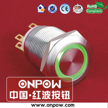 ONPOW 19mm stainless steel momentary ring illuminated pushbutton switch LAS1GQ-11E/G/12V/S(China)