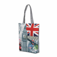 Creative lovely women bag as gift for fresh girls London Big Ben Canvas Tote Casual Beach Bags Women Shopping Bag Handbags M14