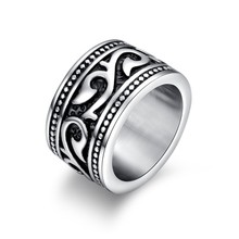 Vintage Engraved Barbed Vine Rings for Men Women Stainless Steel Gothic Floral Band Rock Biker Jewelry Aneis Masculinos(China)