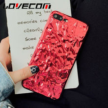LOVECOM Phone Case For iPhone 6 6S 7 Plus Luxury 3D Tinfoil Electroplating Soft TPU Phone Back Cover Cases CHINA RED Arrival