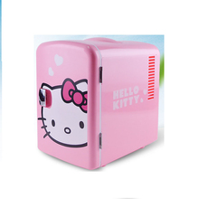 4L Hello Kitty Cute Design Portable Electric Car Refrigerator Mini Car Home Dual Use Refrigerator Storage Freshener Machine(China)