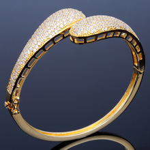 Higher Quality Cubic Zirconia Fashion Bangle For women Factory Price Lead Free Gold Color Bangles  Free shipping