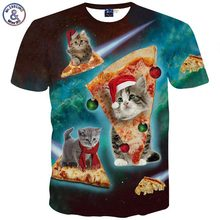 Mr.1991INC 3d clothing New Harajuku Men's 3d t-shirt short sleeve cartoon t shirt print pizza cat man tops tees Asia M ~ XXL