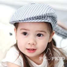 Children Flat Peaked Cap Kid Newsboy Cap Pure Cotton Boy Girl Berets Striped Ivy Hat 52cm 55cm(China)