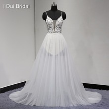 Sexy Wedding Dress Bare Back Spaghetti Strap Luxury Beaded Transparent Tulle Layer Skirt 2017 New Real Photo