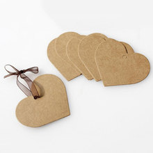 100Pcs DIY Kraft Paper Tags Brown Heart Shape Label Luggage Wedding Note Blank price Hang tag Kraft Gift 5.2x7cm
