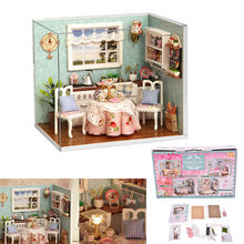 Hot Kids Toy Birthday Gift DIY Mini Dollhouse Handmade Wooden Model Building Kits Cute Miniature Kitchen Model With Furnitures(China)