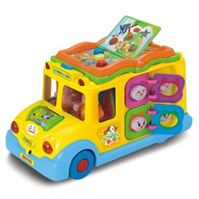HUILE baby electronic toys school bus vehicles with music,games,cartoon animal call, child early education toy student bus model(China)