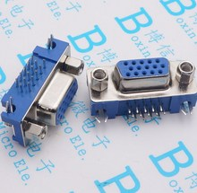 5PCS/LOT DB15 DR15 3Rows Blue Parallel Port 15 Pin D Sub Female 15 Way PCB 90 Degree Connector DB15 Socket Plug VGA Adapter