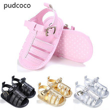 Cute Infant Boys Girls Summer Sandals Gold Silver Pink Black Toddler Baby Soft Sole Anti slip Shoes Sandals 0-18M(China)