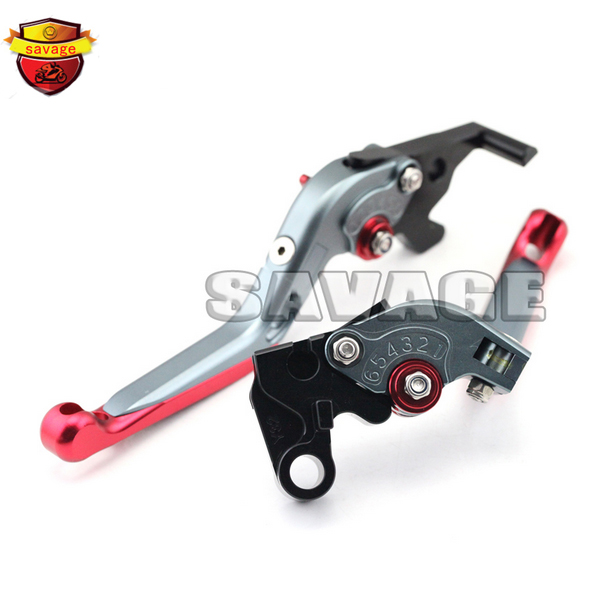 Motorcycle Accessories CNC Aluminum Folding Extendable Brake Clutch Levers For YAMAHA YZF-R25 YZF-R3 YZF R25 R3 Red<br>