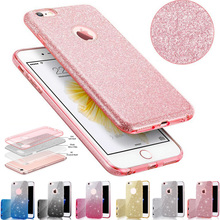 For iPhone 7 TPU Case Clear Crystal Bling Shining Girls Women Sparkle 3 Layer Phone Cases Covers for iPhone 6s 7 Plus Capa(China)