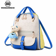 Creative inspiration Design Double Color Chains Pattern Women Backpack High Quality Leather School Bag Beautiful Female Rucksack