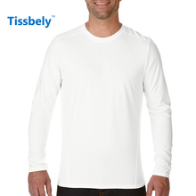 Tissbely Cotton men Long Sleeve T shirt solid color o neck Plain with long sleeve for men simple Brand t-shirt(China)
