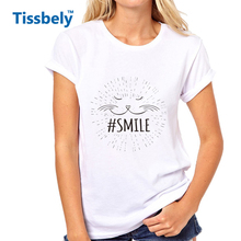 Tissbely Cute Smiling Cat Face Women T Shirt Hand drawn Hashtag Smile White Print Tee Women Sweet Style Tops