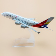 16cm Alloy Metal Korean Air Asiana Airlines Airbus 380 A380 Airways Plane Model Aircraft Airplane Model w Stand  Gift