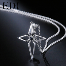 EDI Genuine Cross Natural Black Sapphire Gemstone 925 Sterling Silver Pendant Chain Necklace For Women Classic Fine Jewelry(China)