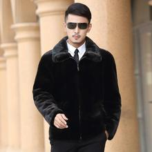 Clobee Men faux fur Coats 2017 men's winter outwear black fur coat Luxury Fake Mink fur Turn-down Collar full sleeve jacket M751
