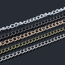 5m/lot 6x4mm Rhodium/Silver/Gold/GunMetal/Bronze Metal Plated Necklace Chains for DIY Necklace Bracelet Jewelry Making