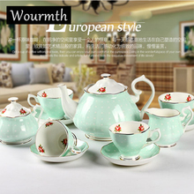 Wourmth High-end European style Tea set Bone China Coffee Cups and Saucers Ceramic Coffee set Wedding Gift(China)