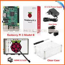 "Raspberry Pi3 Model B Board+3.5"" LCD HDMI Screen Monitor Display TFT LCD Module 1920x1080+5V 2.5A Power Supply +Heat Sinks+ Case"