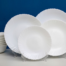 6 pcs/lot Heat-resistant White Opal Glass Porcelain Flat Plates Dishes Tableware Salad Sushi Breakfast Dish Steak Plate
