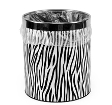 Leather Zebra Pattern Storage Bucket Stainless Steel Garbage Bin Paper Basket Rubbish Barrel Leather Storage Basket(China)