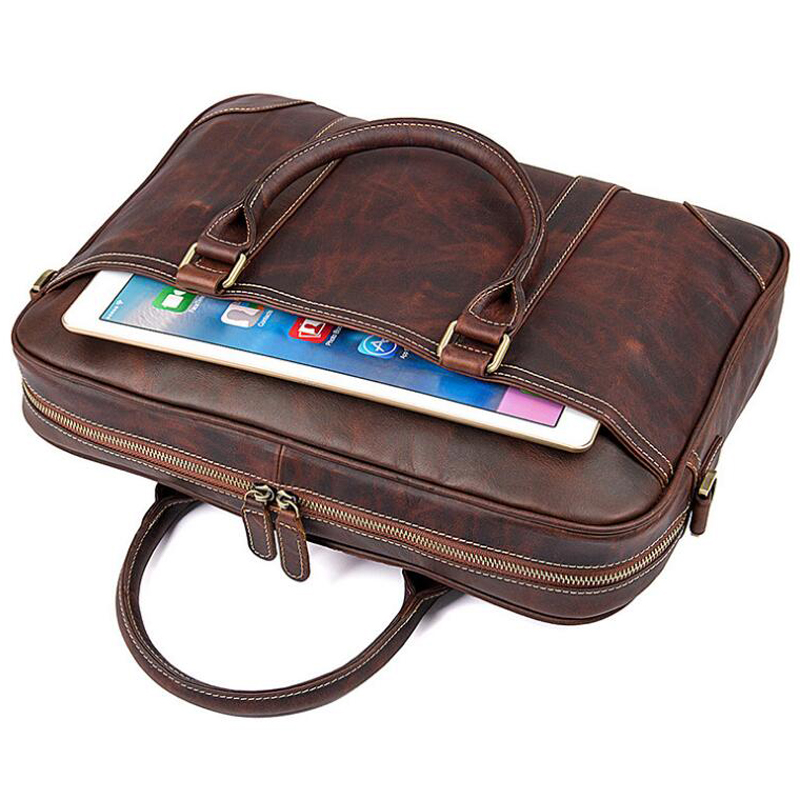 LEXEB Computer Bags For Men Full Grain Leather Briefcases Business 15 Inches Laptop Bag Slim Office Work Tote Bag In Chocolate