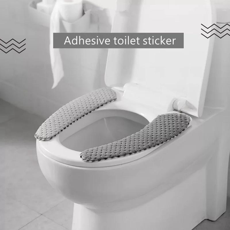 Bathroom Toilet Lid Cover Winter Warmer Plush Soft Case Mat Non-Slip Washable