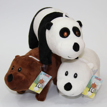We Bare Bears Popular Cartoon 3pcs/set 25cm Grizzly Ice Bear Panda Plush Soft Doll Animal Stuffe For Baby Kids Birthday Gift