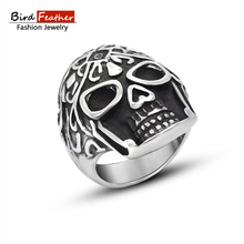 Bird Feather Stainless Steel Men Ring Carved skull head Titanium Rings for Women Vintage Punk Fashion Jewelry Woman Wedding Ring(China)