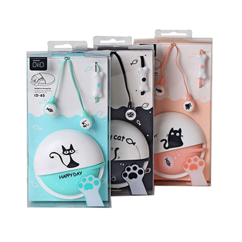 2017New Cartoon Earphone + Case bag + Retail Box Cute Anime Earphone cat 3.5mm headset with MIC kids best gift(China (Mainland))