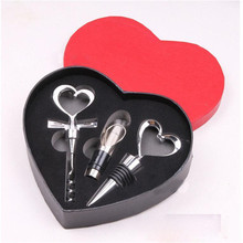 NEW!! High Quality 3pcs/pack Useful Bar Tools with a Heart Shaped Box with Wine Opener&Stopper&Pourer Set PC871828