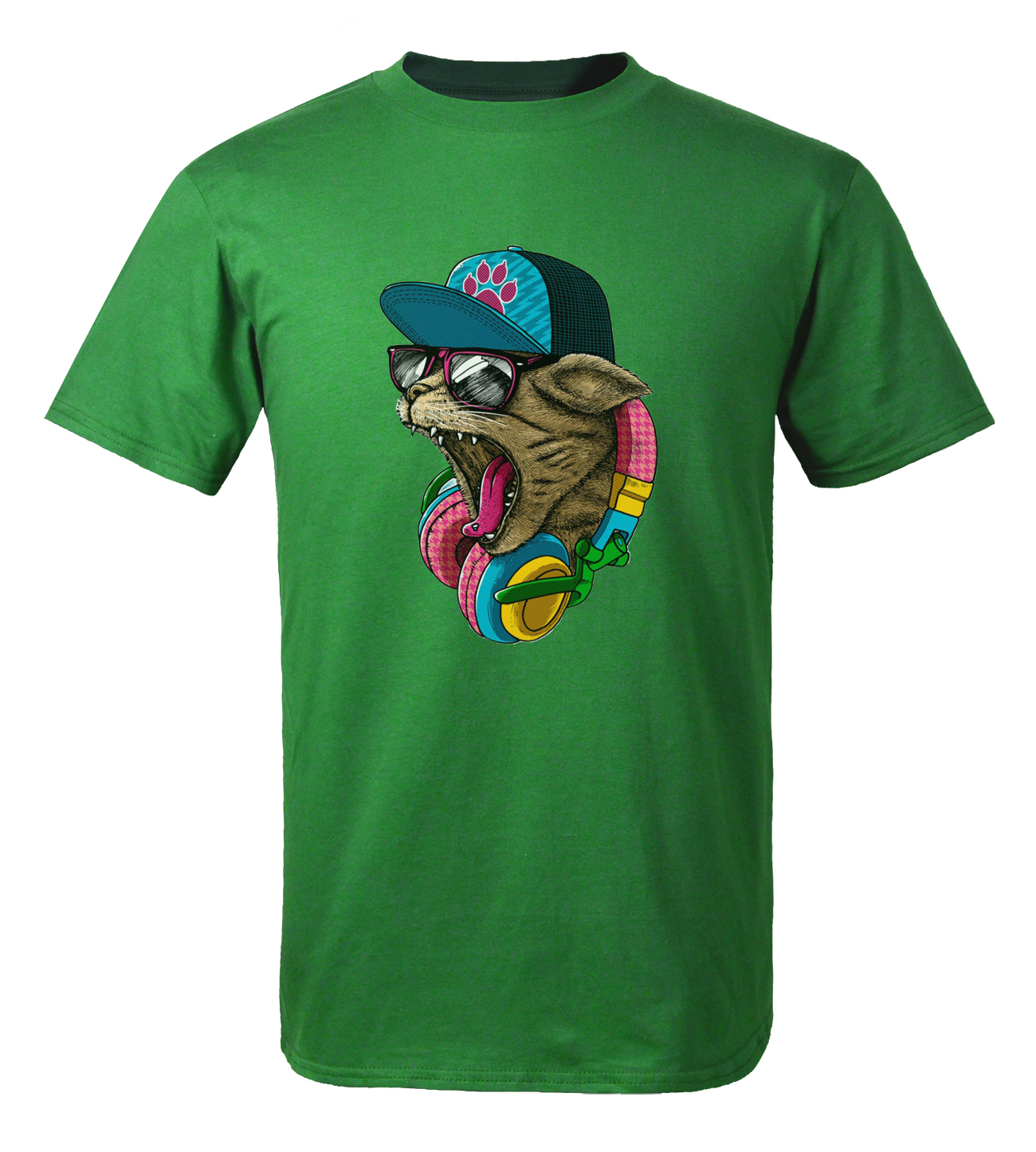 3D Printed Crazy DJ Cat T Shirts 2017 Summer 100% Cotton Animal T-Shirts Men Tops Tees Funny T-Shirt Hip Hop Brand Clothing