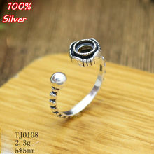 100% 925 sterling silver Adjustable Ring Tary Round Fit .5MM Setting Tray Bead Antique Silver(China)