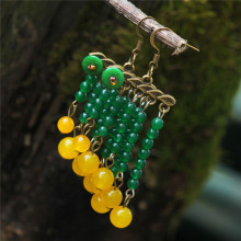 Beautiful Elegant Unique Slanting Tassels Fresh Green Chalcedony Hanging Yellow Beads Earrings Original Quality Ethnic Jewelry(China)